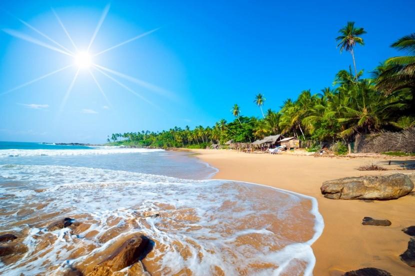 Széles homokos strand pálmafák Srí Lanka