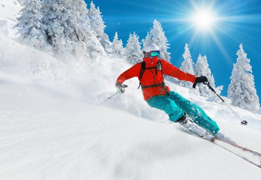 téli sport síelős fiú téli táj